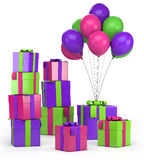 Presents and balloons. Piles of presents and balloons - high quality 3d illustration Stock Image
