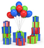 Presents and balloons. Piles of presents and balloons - high quality 3d illustration Stock Photography