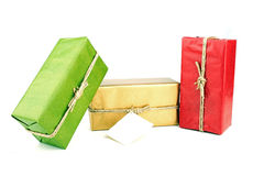 Presents with a blank card Royalty Free Stock Photo