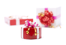 The presents with the bow. The presents with the beautiful bow stock image