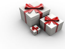Presents box. Three presents box with red bow - 3d render Royalty Free Stock Photo