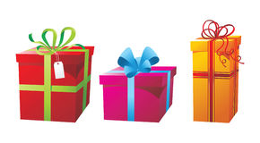 Presents boxes. 3 colorful glossy presents boxes Royalty Free Stock Image