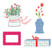 Presents boxes and flowers holidays Stock Image