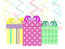Presents. Boxes with gifts for the background of the serpentine vector illustration