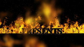 Presents Burning Hot Word in Fire stock video footage