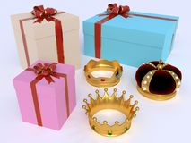 crowns and gift boxes Stock Image