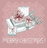 Presents christmas blue pink traditional vector card stock illustration