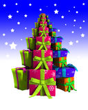 Presents Christmas Tree. The shape of a Christmas tree made from Christmas presents Royalty Free Stock Images