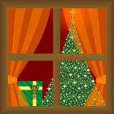 Presents and christmas tree at home Royalty Free Stock Photos