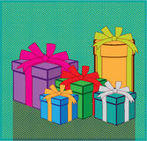 Presents color boxes vector Royalty Free Stock Images