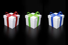Presents with colorful ribbons Royalty Free Stock Images