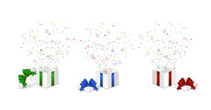 Presents with confetti Royalty Free Stock Image