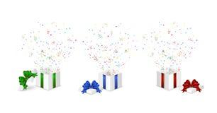 Presents with confetti stock illustration