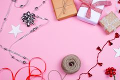 Presents and decoration accessories royalty free stock photography