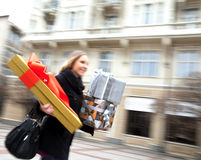 Presents excitement street blured Royalty Free Stock Images