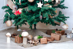 Presents, gift box, under the Christmas tree Stock Images