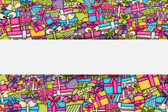 Presents and gift boxes cartoon doodle background design. Stock Images