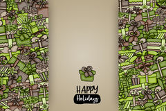 Presents and gift boxes cartoon doodle background design. Royalty Free Stock Photo