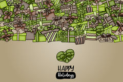 Presents and gift boxes cartoon doodle background design. Royalty Free Stock Images