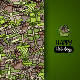 Presents and gift boxes cartoon doodle background design. Stock Photos