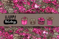 Presents and gift boxes cartoon doodle background design. Presents and gift boxes cartoon doodle design. Cute background concept for birthday greeting card royalty free illustration