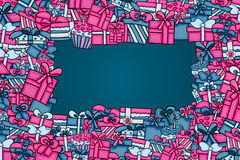 Presents and gift boxes cartoon doodle background design. Royalty Free Stock Photography