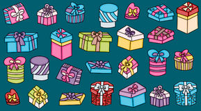 Presents and gift boxes cartoon doodle elements set Stock Image
