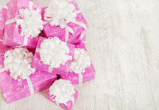 Presents gift boxes stack, birthday in pink color for female Stock Photography