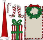 Presents and gift tags. Santa Hat, Candy Cane, Presents, Gift Tags, Stockings Stock Images