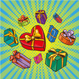 Presents and gifts boxes vector illustration in comic retro pop art style. Cartoon design elements, icons Stock Photos