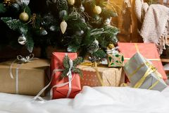 Presents and Gifts under Christmas Tree, Holiday royalty free stock photos