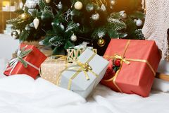 Presents and Gifts under Christmas Tree, Holiday stock photo