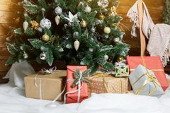 Presents and Gifts under Christmas Tree, Holiday stock photos