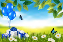 Presents in grass. Natural background. Vector stock images