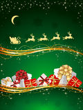 Presents on green background Stock Photos