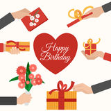 Presents holding hands flat pictograms composition Royalty Free Stock Image