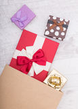 Presents for holiday concept. Gift box with ribbon Stock Images