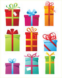 Presents icons. 9 colorful presents boxes icons vector illustration
