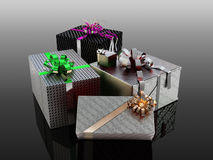 Presents In Wrapping Paper Stock Image