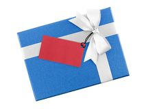 Bright blue gift box with white ribbon bow and blank red paper greeting card for writing message isolated on white background. Presents and invitations for royalty free stock photos