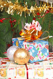 Presents near the Christmas tree Stock Image