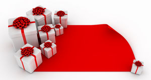 Presents over blank red paper Royalty Free Stock Photos