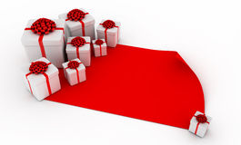 Presents over blank red paper Royalty Free Stock Image