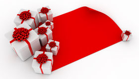 Presents over blank red paper Stock Photography