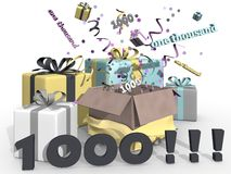 Presents and party for number 1000 Stock Image