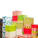 Presents pile. Big pile of colorful Christmas presents and boxes Royalty Free Stock Photography