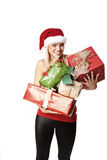 Presents Are Ready. Portrait Of A Beautiful Blond Girl Holding A Lot Of Presents Royalty Free Stock Photo
