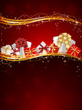 Presents on red background Stock Images