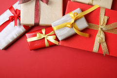 Presents on red background - Series 3 Royalty Free Stock Images