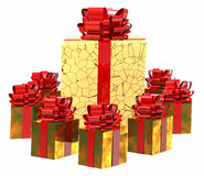 Presents with red bows. Presents wrapped in gold paper with bright red bows Stock Images